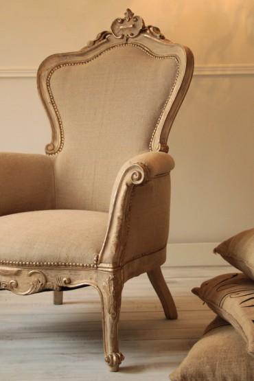 Fotel Francuski Ludwik XV Antyk z XIX wieku po całkowitej renowacji, piękna ręczna snycerka