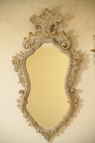 Lustro Francuskie Antyk - Drewniane z Piękną Sztukaterią w subtelnych kolorach Beży i Bieli z elementami pozłacanymi